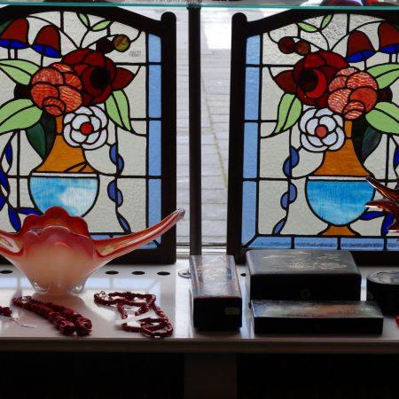 bloemen glas in lood